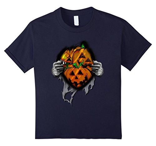 Kids Pumpkin Ribbed Open Chest Halloween 3D Style T-Shirt 12 (Halloween Ideas For 3 Friends)