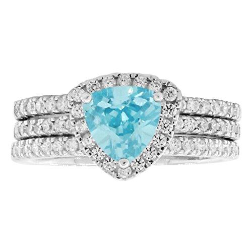 Acotas 3: 2.1ct Trillion-cut Simulated Aquamarine 3 pc Wedding Ring Set Silver, 3281-3282 sz (Aquamarine Trillion Ring)