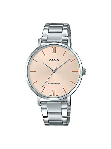 Casio LTP-VT01D-4B Women's Minimalistic Stainless Steel Peach Dial Analog - Ltp Watch Casio Womens