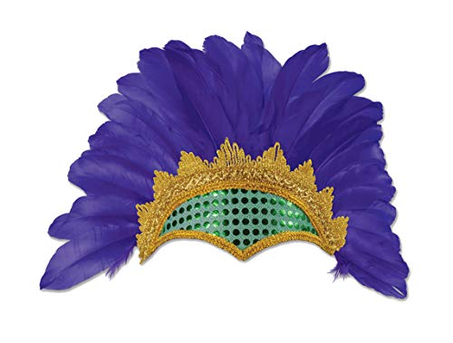 - Adult Size Carnival Feathered Showgirl Headpiece - Purple Gold Green Mardi Gras