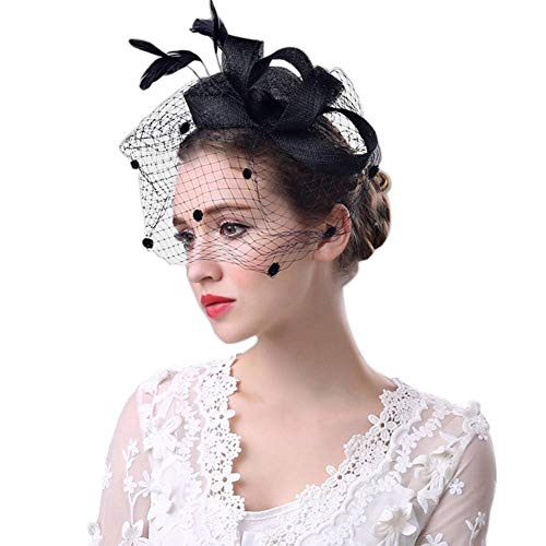 Merya Dress Kentucky Derby Fascinators Mesh Cocktail Headwear Feather DotVeil Tea Party Hat for Church Ball Funeral Black]()