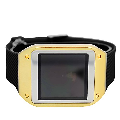 Techno Pave Digital Touch Screen Gear Square Face Gold Plated Bezel with Black Rubber Band Watch