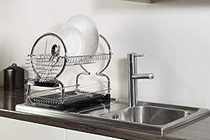 Housewares 2 niveles de plato escurridor 39 cm-negro rojo blanco,Black