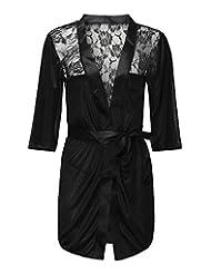 ZANZEA Women's Sexy Lace Robe Silk Kimono Lingerie Babydoll + G-string