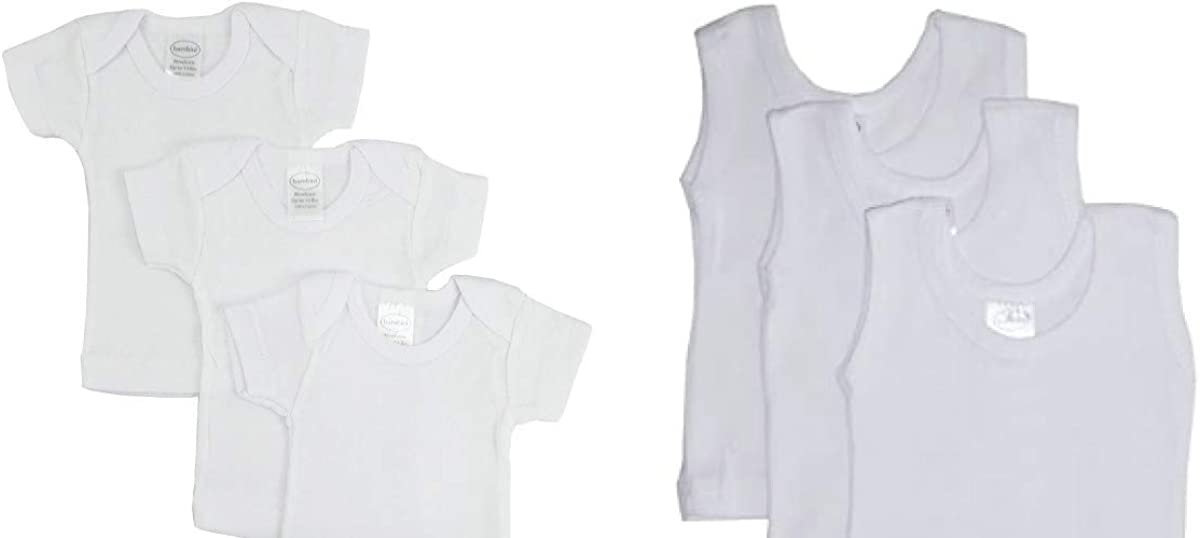 bambini Baby White Rib Knit Short Sleeve T-Shirt Preemie 3 Pack Baby White Rib Knit Sleeveless Tank Top Shirt Small 3 Pack