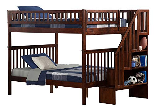 Atlantic Set Bunk Bed - Atlantic Furniture AB56804 Woodland Staircase Bunk Bed with Staircase Bunk, Full/Full, Walnut