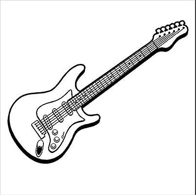 Música Arte Diseño Etiqueta De La Pared De La Guitarra Eléctrica ...