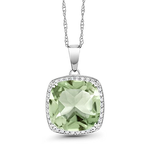 6.74 Ct Cushion Green Amethyst White Diamond 10K White Gold Pendant by Gem Stone King