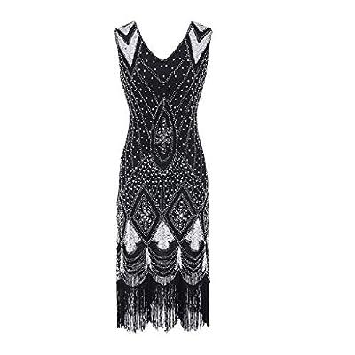Women Vintage 1920s Bead Fringe Sequin Embellished Party Flapper Gatsby Dress