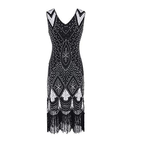 HYIRI ✈ clearence!!!Vintage Special Bead Fringe Dress,Women's Sequin Embellished Party Flapper Gatsby Dress