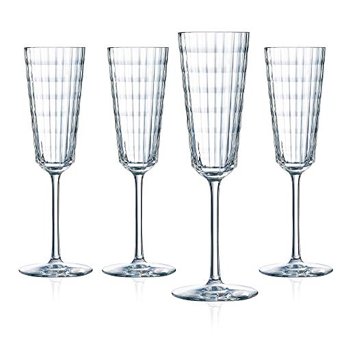 Cristal D'Arques Iroko 5.75 Ounce Champagne Flute, Set of 4
