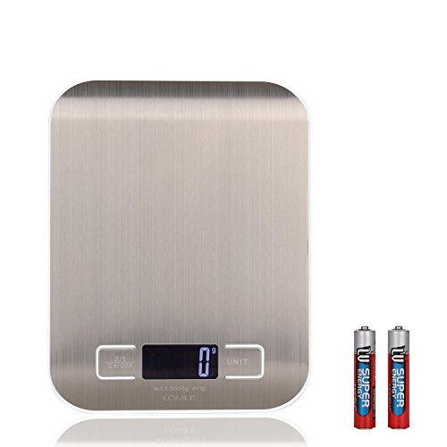 LOSMILE Digital Multifunction Food Kitchen Scale, 11lb 5kg with g/oz/lb/ml Measurement Units, Stainless Steel and Backlit LCD Display, Tare Function(Batteries Included).