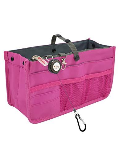 Dahlia's Patented Handbag Purse Organizer Insert - STURDY Flexible, Magenta -