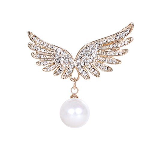 sourjas Cute Simulated Pearl Lapel Pins Gold-Tone Crystal Angel Wings Charm Brooch Collar Pins for Women Girls