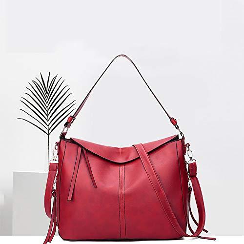 Bolso Bandolera Multifuncional Sólido Pu Bolsa Estilo Compras Sylar Cuero Bandoleras Casual Rojo Retro Mujer color Shopper Mano Grandes De AxfOwqPp
