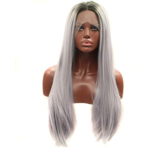 - Wenjing Front Lace Wig Long Straight Synthetic Fiber Wig Smoky Gray Natural Looking for Black Women