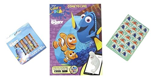 [Finding Dory Color and Play with Jumbo Crayons and a Sheet of Stickers Bundle Set of 3 (Dory and] (Simple Character Day Costumes)