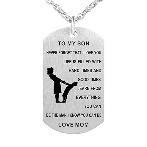 Army Mom Pendant (Dad Mom To My Son Dog Tag Gift Jewelry Pendant Necklace Keychain Military Army Dog Tag Men Women (Mom To My Son Never Forget))