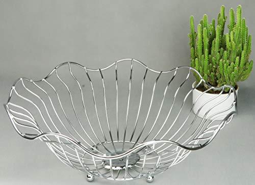 RosyLine Fruit basket, household fruit bowl, decorative display rack, multi purpose storage basket, home decoration (Chrome -