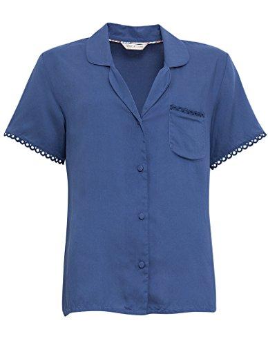 Cyberjammies 3265 Women's Bow Blue Woven Modal Pajama Sleepwear PJs Pyjama Top