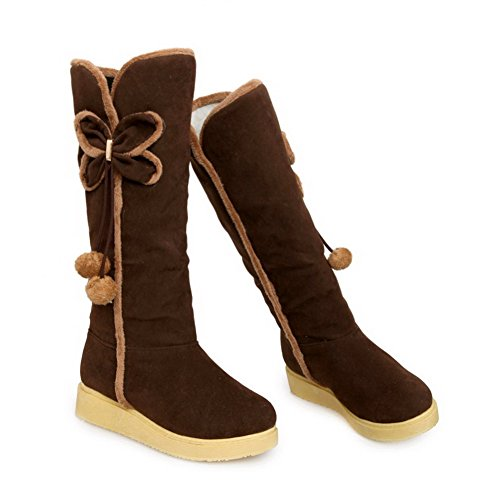 AgooLar Women's Round Closed Toe High-Top Low-Heels Solid Imitated Suede Boots Brown aMwR6