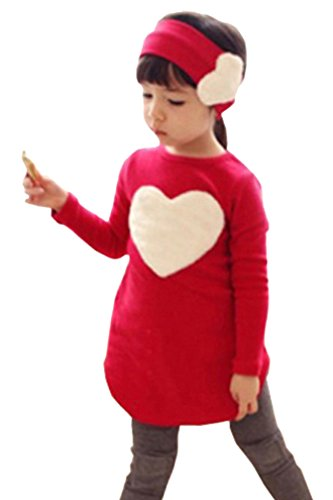 Juniors Cutey Long Sleeve Tunic Top Shirts Leggings Outfits with Hairband Red, Tag 140, US 6T (Cosplay Outfits For Sale)