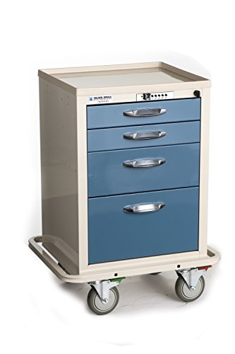 Kennedy Manufacturing 89031 BAC-21C Compact Supply Cart with CPB Lock, Vanilla Shell and Wedgewood Blue Drawers