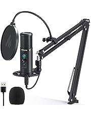 MAONO AU-PM422 zestaw mikrofonów kondensatorowych, mikrofon PC z przełącznikiem wyciszenia, 192 KHZ/24BIT i gniazdo słuchawkowe do nagrywania, spotkań, podcastingu, streamingu, gier Mic