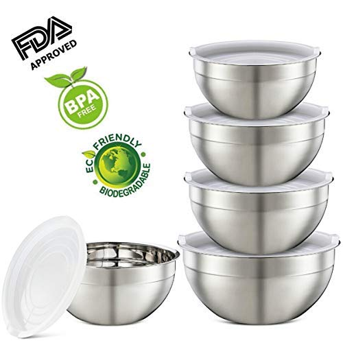 Mixing Bowls - Stainless Steel Mixing Bowl Set with Handles, Pour Spouts, Non-Slip Base and Graters, (set of 5)
