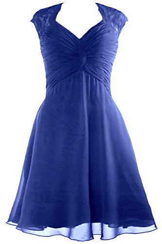 Bridesmaid Dress Women 2017 Dress Lace Royal Cocktail Chiffon Short Sleeve Blue Cap MACloth vn1qzRwTT