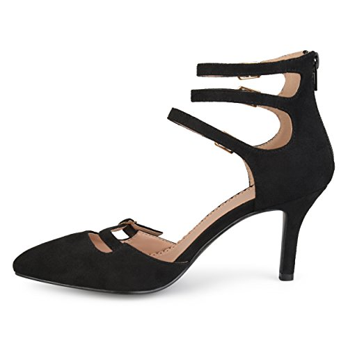 Journee Collection Mujer Faux Suede Multi-strap Pointed Toe High Heels Negro