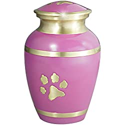Meilinxu - Pet Funeral Urns for Dogs Ashes - Cremation Urns for Cats Ashes - Hand Made in Brass - Attractive Display Burial Urn - Pet Memorial Baby Urn - Cremated Remains (Pink Paw Print, Large Urn)
