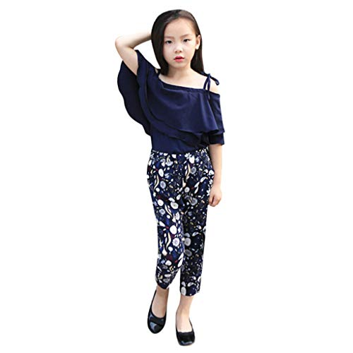 2Piece Toddler Children Teen Baby Girl Outfits Set,Flounce Ruffle Layered Off Shoulder Strap Top Floral Pants Suit,3-12Y Navy