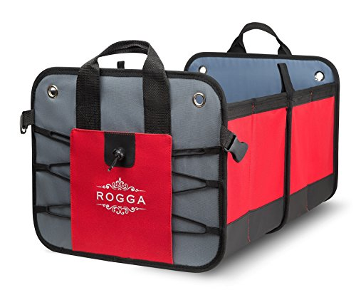 Car trunk organizer by Rogga - Premium collapsible cargo solution for groceries storage - Folding console fits perfectly in SUV and van. Sturdy easy to clean tote with rigid baseplates and mesh. (Corvette Bbq compare prices)