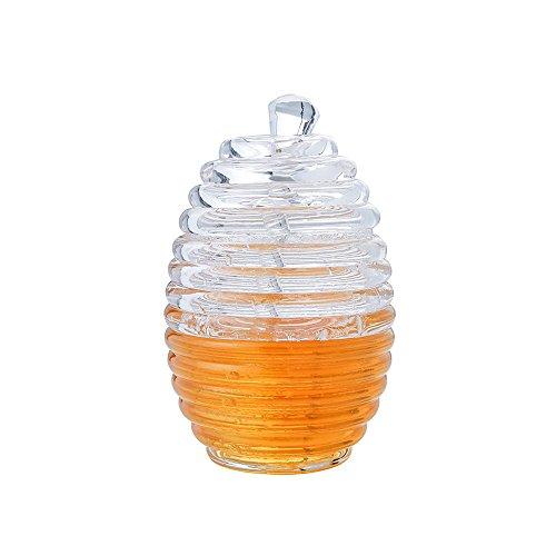 Transparent Beehive Honey Jar with stirring rod (Cross Honey Jar)