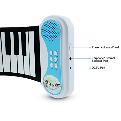 Sanmersen 37 Keys Soft Silicone Flexible Sensitive Children Kids electric Electronic Piano keyboard Organ Roll-up with Louder Speaker for Beginner Musical Instruments Educational Toy Gift