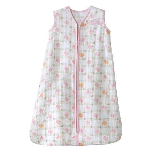 HALO 100% Cotton Muslin Sleepsack Wearable Blanket, Elephant Plaid, Medium