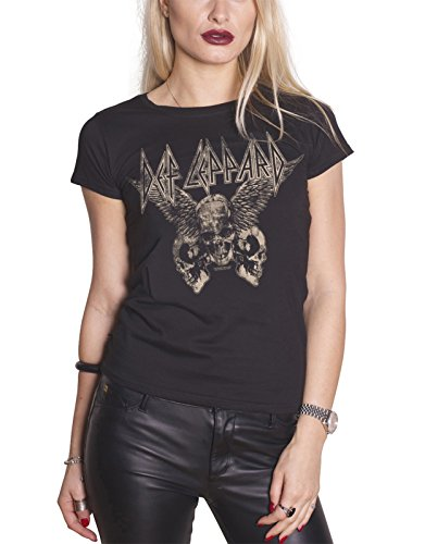 Def Leppard T Shirt Flying Skulls Band Logo Official Womens Junior Fit Black