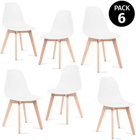 Mc Haus KATLA - Pack 6 sillas Blancas Tulip Comedor oficina, Sillas Madera nórdicas con patas de madera y respaldo ergonóm...