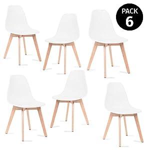 Mc Haus LENA – Pack 4 sillas Blancas Tulip Comedor oficina, Sillas Madera nórdicas con patas de madera y Asiento… 41C1kp 2BZ0jL