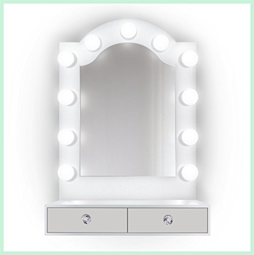 25 inch x 31 inch Lighted Hollywood Arch Vanity Mirror | Makeup Mirror With Storage| Table Top Or Wall Mount | Plug-in by Krugg (Image #5)