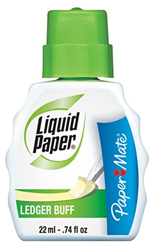 Liquid Paper Fast Dry Ledger Buff Correction Fluid, 22ml, Yellow, 12 Bottles by Paper Mate (Image #1)
