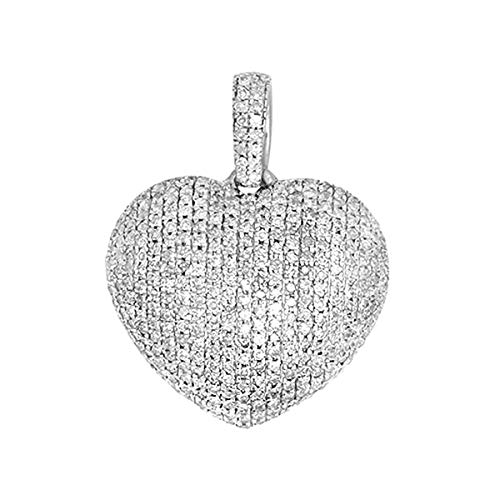(14K White Gold 0.6 Ct Round Cut Natural Diamond Puffed Heart Pendant Necklace Women's)