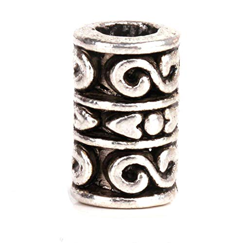 (RUBYCA 30pcs Tibetan Silver Spacer Beads Fit European Charms Bracelet Stripes Cylinder Infinity)