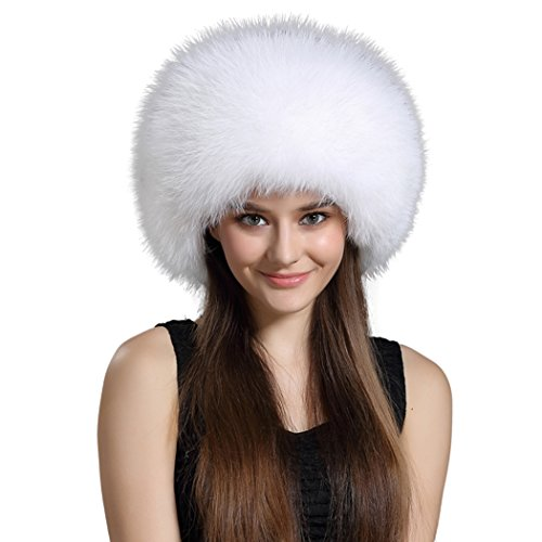 BeFur Womens Real Fur Russian Hat Leather Top Trapper Bomber Pom Cap