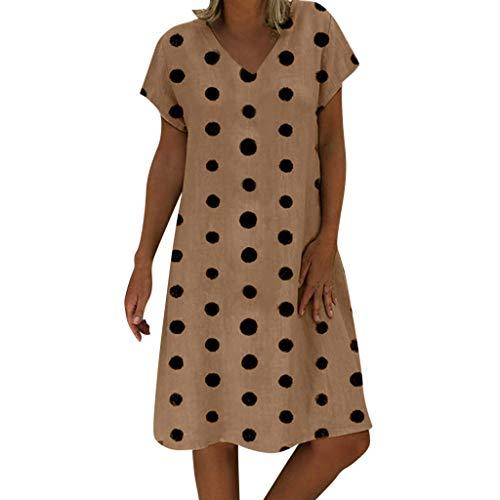 d5534202251b5 Women Dresses V Neck Short Sleeve Polka Dot Loose Casual Mini Dress (L,  Coffee