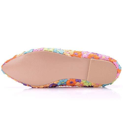 Fiesta Boda Zapatos 01Rail De Tallas Color De De Zapatos Ballets Pisos Grandes Ager Punta Boda Vestido Estrecha Flower Zapatos Mujeres 7nTBx