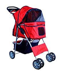 New Deluxe Folding 4 Wheel Pet Dog Cat Stroller Carrier w Cup Holder Tray - Red