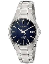 Seiko Men's SNE381 Titanium Watch with Blue Dial