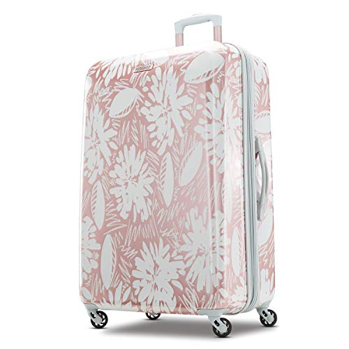 American Tourister Moonlight Hardside Expandable Luggage with Spinner Wheels, Ascending Gardens Rose Gold, Checked-Large 28-Inch